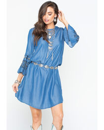 Given Kale Women's Indigo Embroidered Tencel Dress, , hi-res