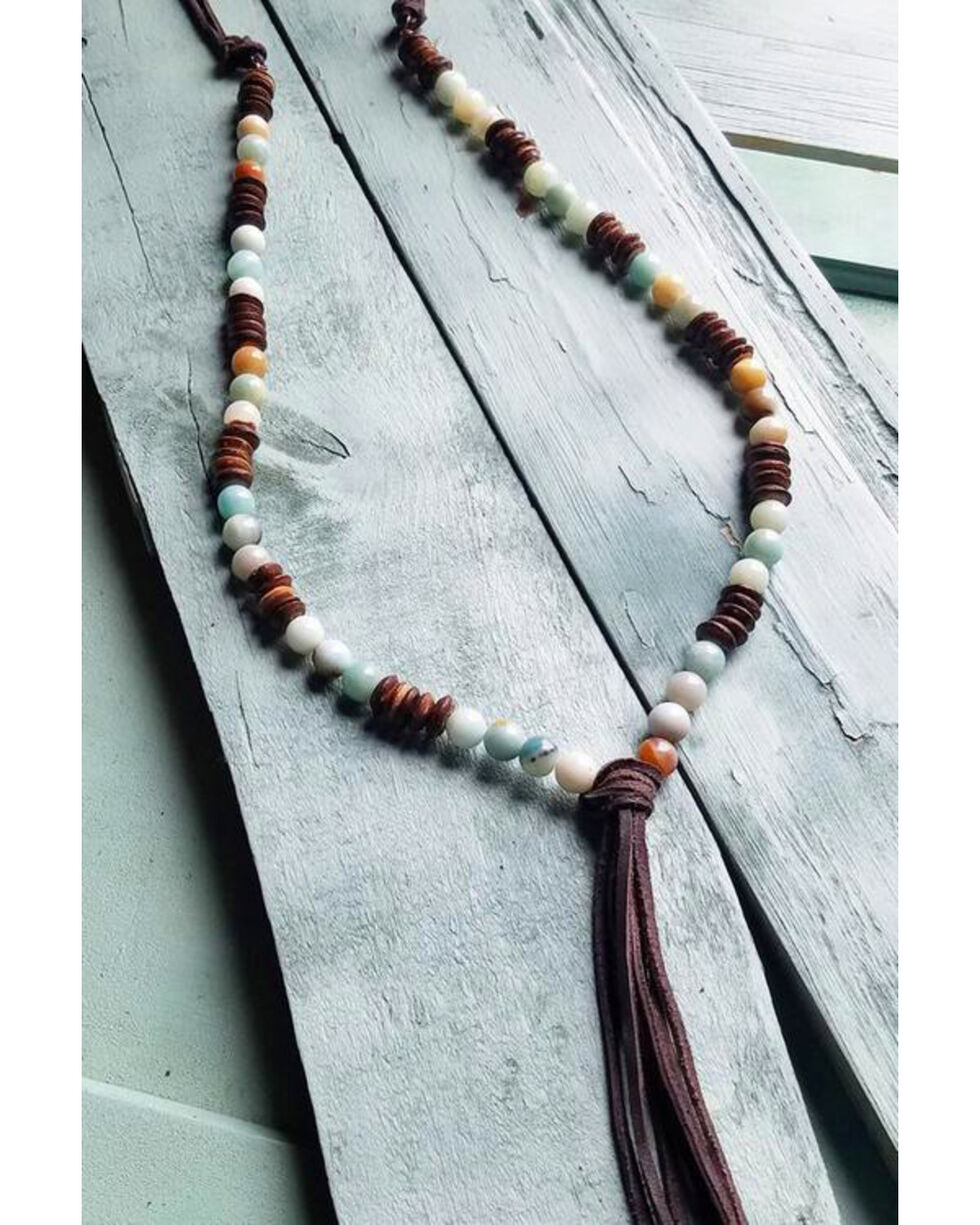 Jewelry Junkie Women's Amazonite Wood Bead Tassel Necklace, Brown, hi-res