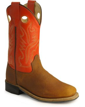 Old West Children's Copper Corona Calf Cowboy Boots - Square Toe, Copper, hi-res