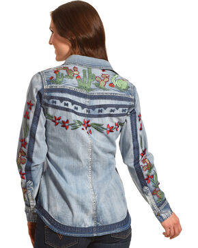 Tasha Polizzi Women's Cactus Embroidered Denim Shirt, Indigo, hi-res