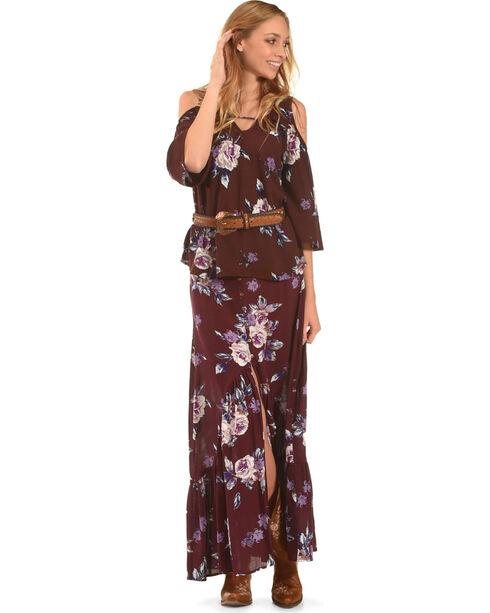 Shyanne Women's Floral Cold Shoulder Top, Burgundy, hi-res
