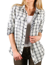 Miss Me Women's White Hidden Romance Plaid Shirt , , hi-res