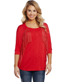 Cowgirl Up Women's Red 3/4 Front Fringe Top , , hi-res