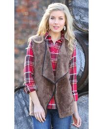 Wrangler Women's Fleece Faux Fur Vest, , hi-res