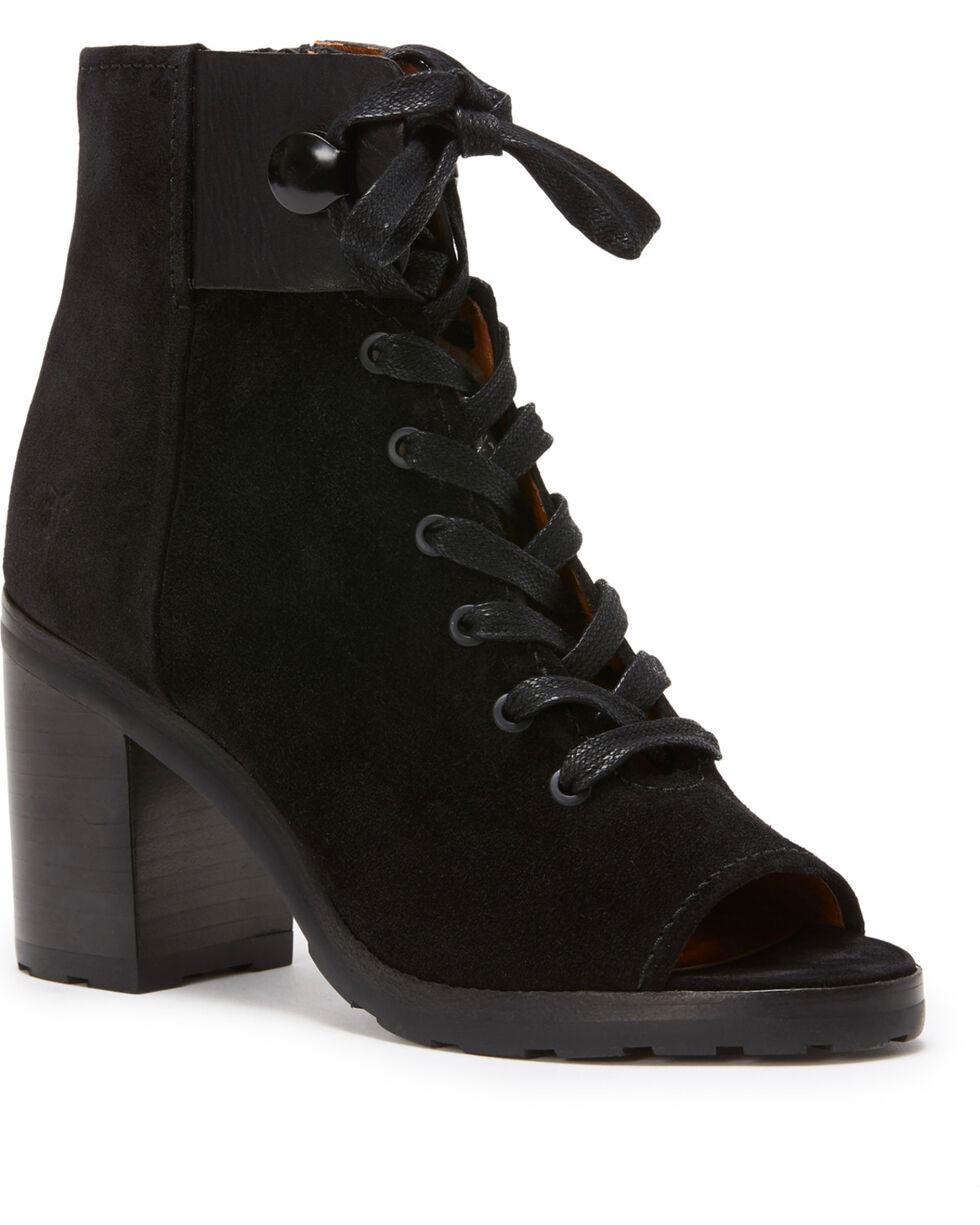 Frye Women's Black Danica Lug Combat Booties - Round Toe , Black, hi-res