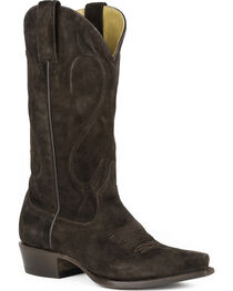 Stetson Women's Reagan Dark Brown Brown Rough Out Western Boots - Snip Toe, , hi-res