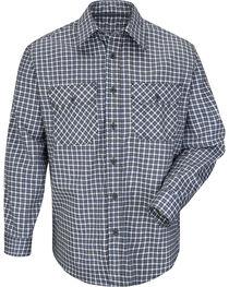 Bulwark Men's Navy Plaid Flame Resistant Uniform Shirt , , hi-res