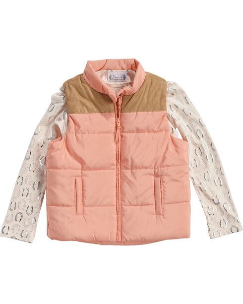 Shyanne® Girls' Puffer Vest and Horseshoe Tee, Pink, hi-res