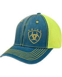Ariat Women's Turquoise Gold Shield Baseball Cap , , hi-res