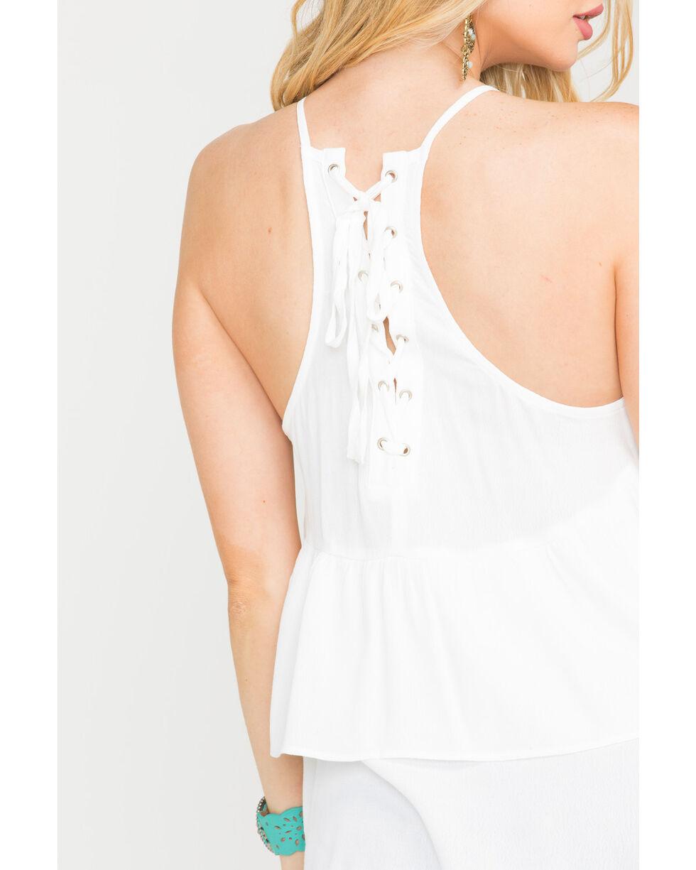 Miss Me Women's Blooming Hottie Halter Top, White, hi-res