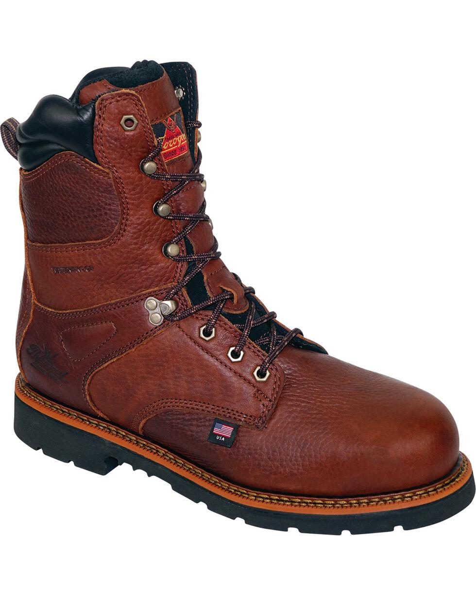 "Thorogood Men's 8"" Waterproof Thinsulate B-400 Insulation Work Boots - Steel Toe, Brown, hi-res"