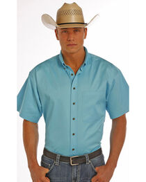 Panhandle Slim Men's Turquoise One Pocket Short Sleeve Shirt , , hi-res