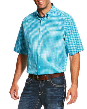 Ariat Men's Pro Series Negan Plaid Short Sleeve Button Down Shirt , Red, hi-res