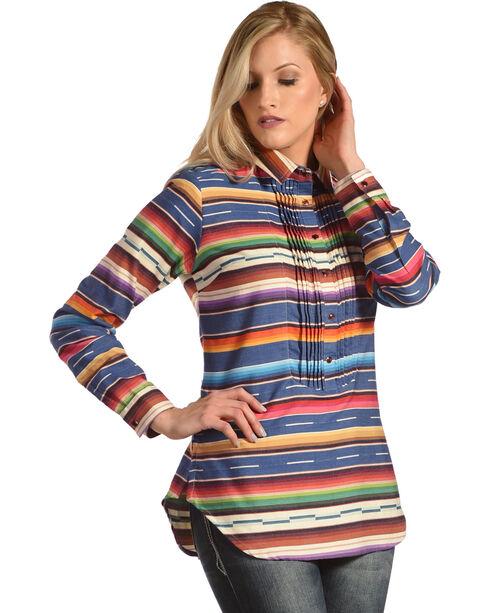 Tasha Polizzi Women's Serape Tuxedo Shirt , Indigo, hi-res