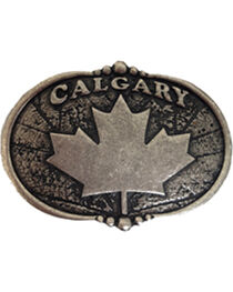 AndWest Vintage Silver Calgary Maple Leaf Belt Buckle, , hi-res