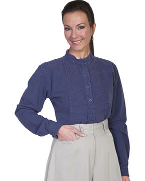 Rangewear by Scully Paisley Bib Inlay Long Sleeve Top, Blue, hi-res
