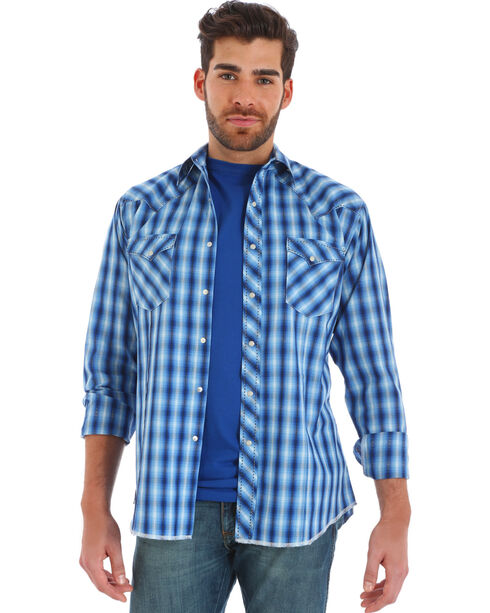 Wrangler Men's Blue Ombre Plaid Long Sleeve Western Shirt , Black, hi-res