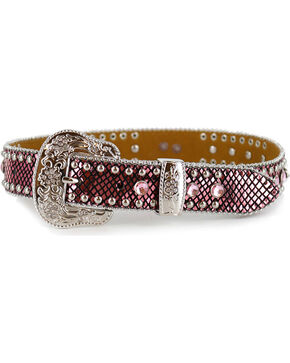 Angel Ranch Girls' Metallic Snake Print Western Belt, Pink, hi-res