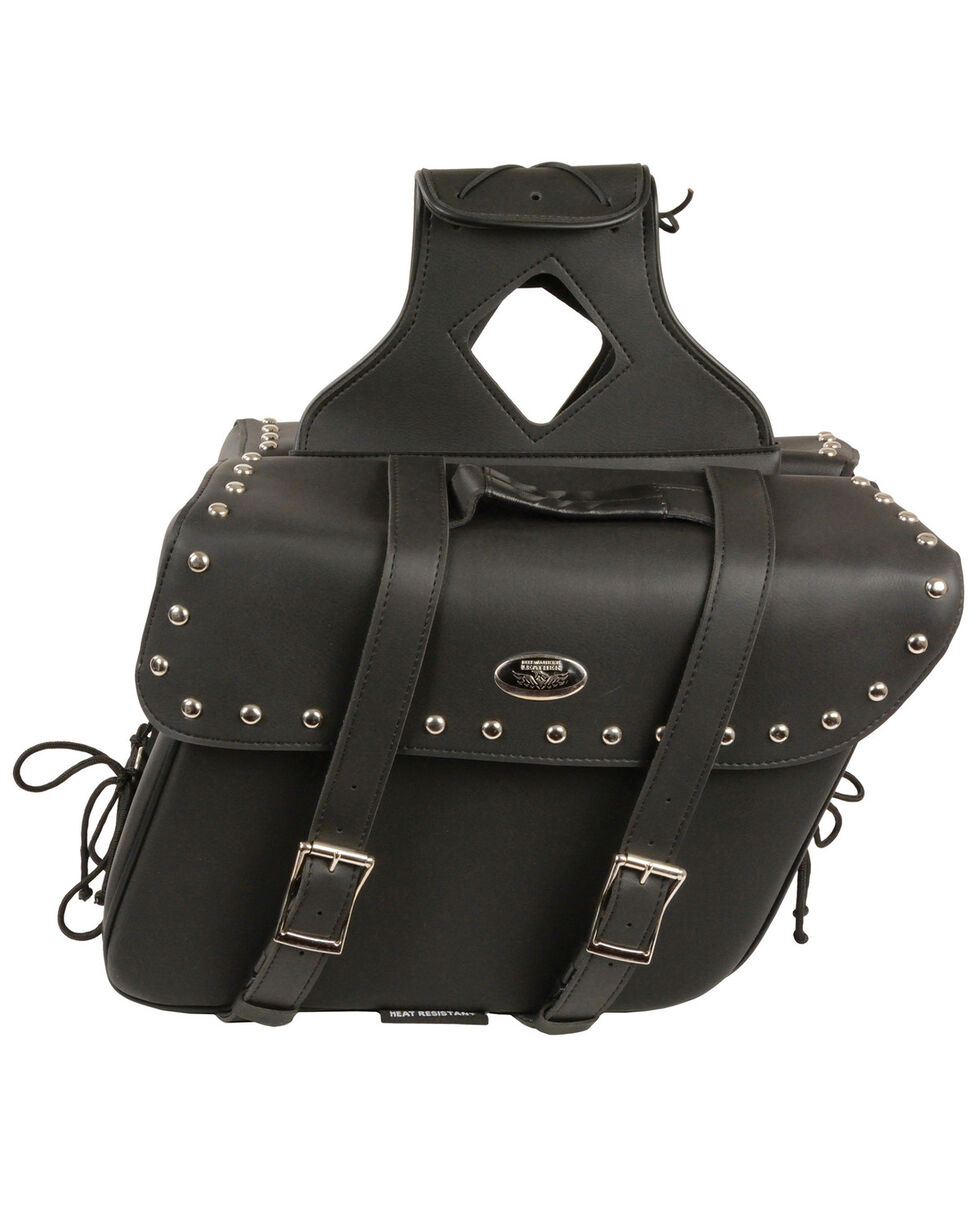 Milwaukee Leather Large Zip-Off Slanted Throw Over Studded Saddle Bag, Black, hi-res