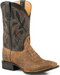 Roper Men's Brown Caiman Embossed Western Boots - Square Toe , , hi-res