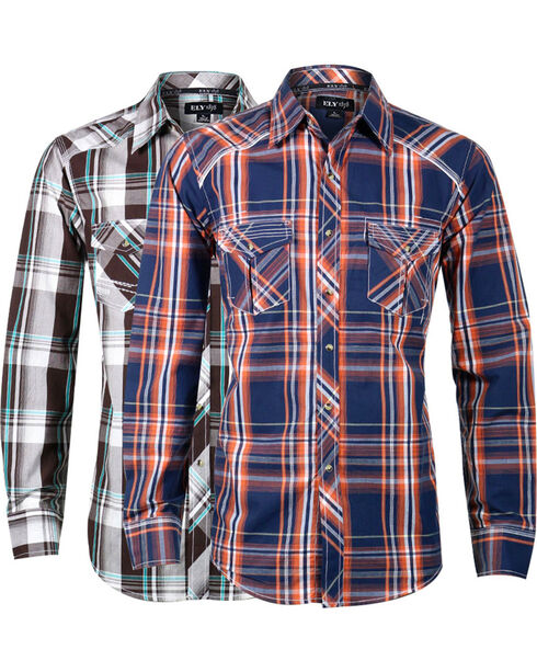 Ely Cattleman Men's Assorted Western Long Sleeve Shirt, Multi, hi-res
