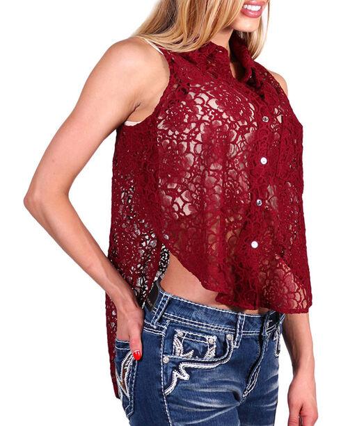 Teint Women's Sheer Lace Sleeveless Top, Burgundy, hi-res