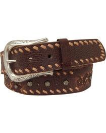 Roper Women's Brown Horseshoe Buckle Leather Belt, , hi-res