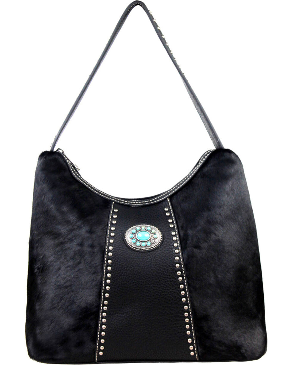 Montana West Black Trinity Ranch Hair-on Leather Handbag, Black, hi-res