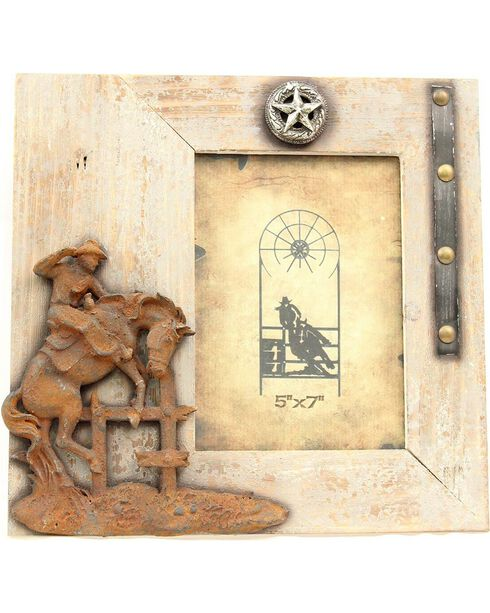 """Western Moments Rustic Bucking Horse Wooden Photo Frame - 5"""" x 7"""", Brown, hi-res"""