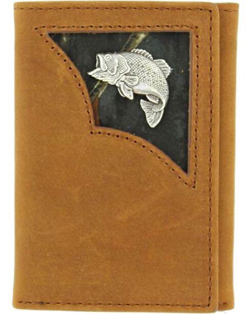 Nocona Belt Co Men's Fish Concho Tri-Fold Wallet, Med Brown, hi-res