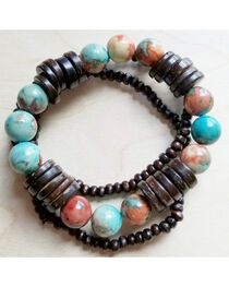 Jewelry Junkie Women's Multi-Colored Turquoise and Wood Stretch Bracelets, Turquoise, hi-res