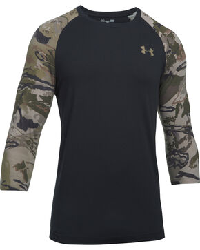 Under Armour Men's Ridge Reaper 3/4 Sleeve Tee , Black, hi-res