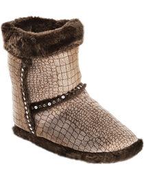 Blazin Roxx Youth Girls' Brown Croc Print Plush Bootie Slippers, , hi-res