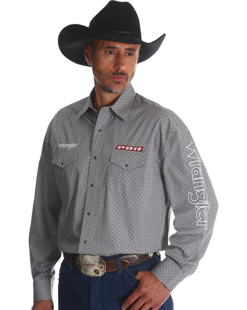 Wrangler Men's Grey Logo Long Sleeve Shirt - Tall, Grey, hi-res