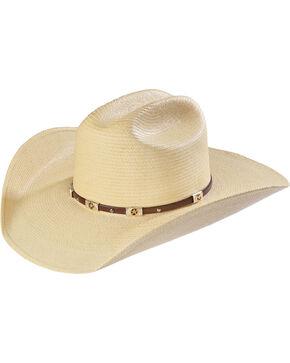 Larry Mahan Alamo Palm Star Concho Straw Cowboy Hat, Natural, hi-res