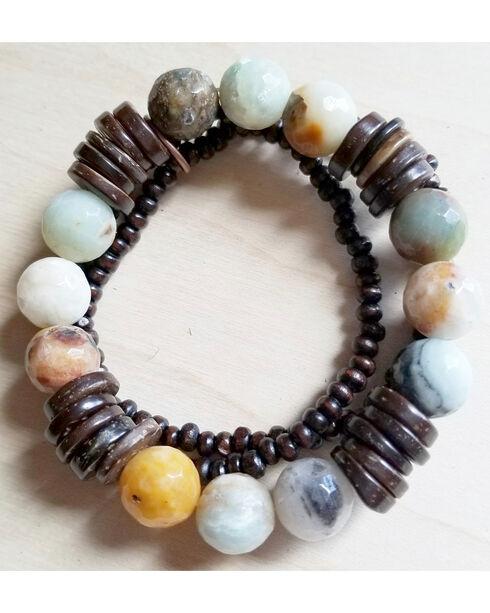 Jewelry Junkie Women's Amazonite and Wood Stretch Bracelets, Aqua, hi-res