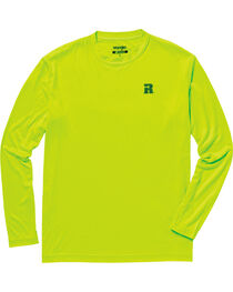 Wrangler Men's Green Riggs Crew Performance Long Sleeve T-Shirt - Big and Tall, Bright Green, hi-res