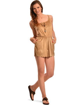 Derek Heart Women's Tan Faux Suede Romper , Tan, hi-res
