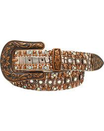 Nocona Women's Croc Copper Studded Silver Western Belt , , hi-res