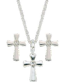 Montana Silversmiths Tiny Silver Cross Necklace & Earrings Set, , hi-res