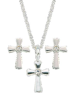 Montana Silversmiths Tiny Silver Cross Necklace & Earrings Set, Silver, hi-res