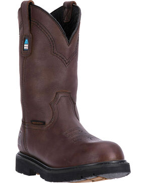 "McRae Men's 11"" Waterproof Pull On Work Boot - Round Soft Toe, Dark Brown, hi-res"