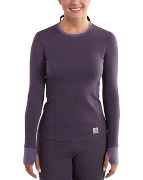 Carhartt Women's Base Force Cold Weather Crewneck Top, Purple, hi-res