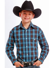 Rough Stock by Panhandle Slim Boys' Teal and Black Plaid Western Shirt , , hi-res