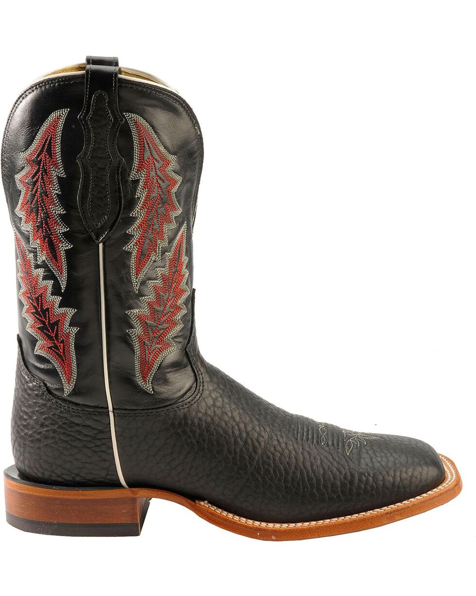 Tony Lama Men's Bull Hide Square Toe Western Boots, Black, hi-res