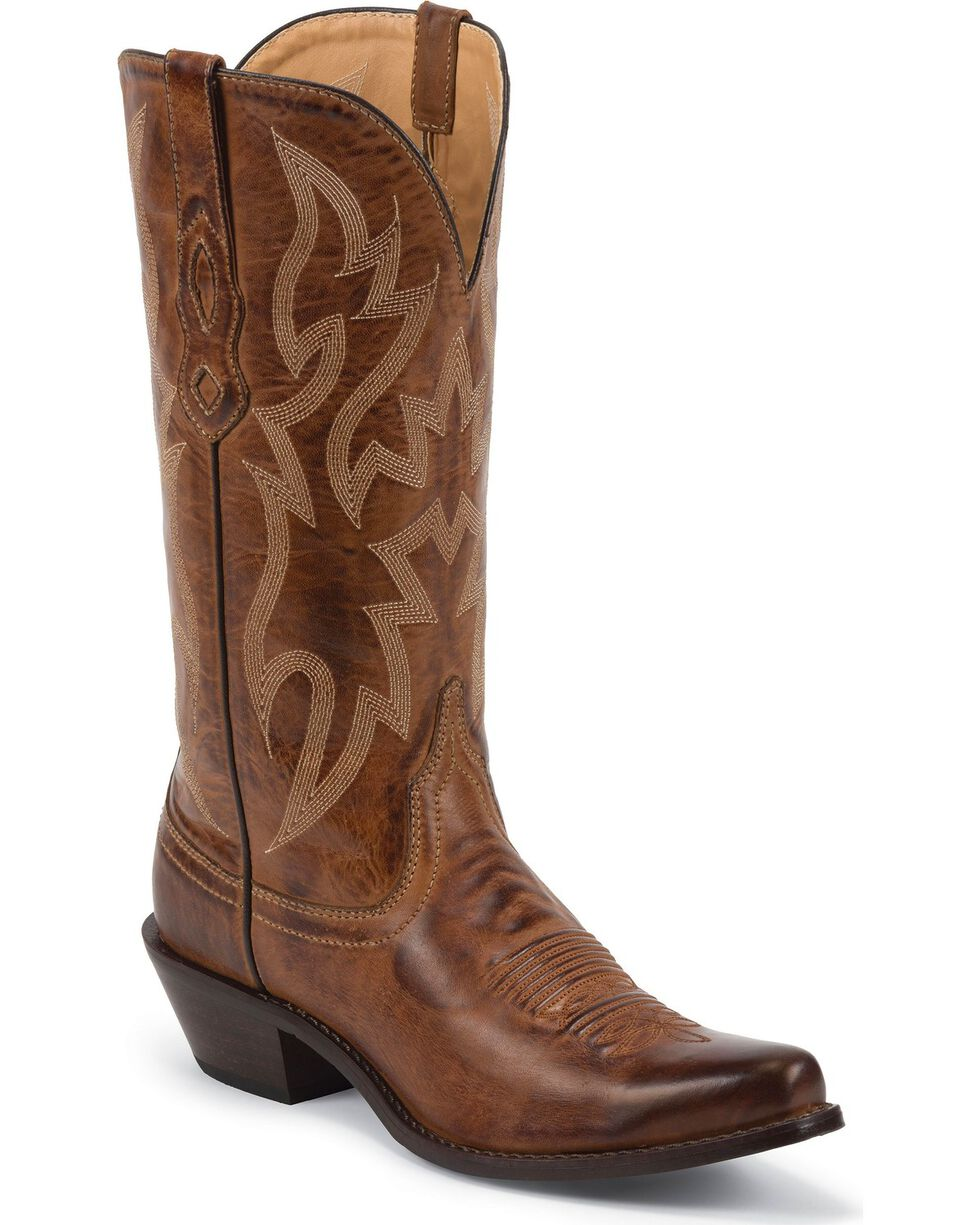 Nocona Women's Deertanned Snip Toe Western Boots, Brown, hi-res