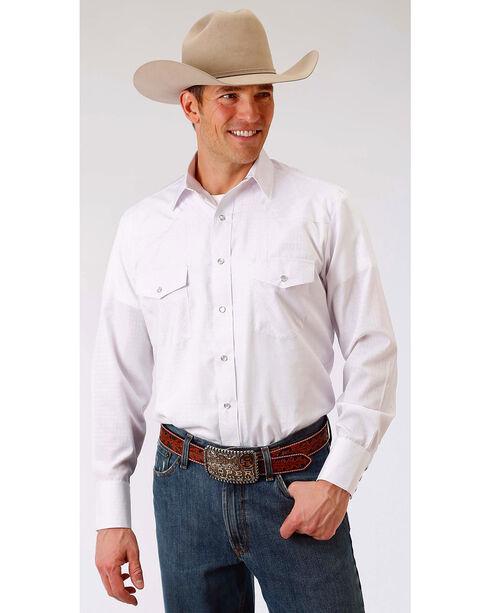 Roper Men's White Tone On Tone Solid Snap Shirt, White, hi-res