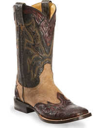 Stetson Women's Hand-Tooled Western Boots, , hi-res