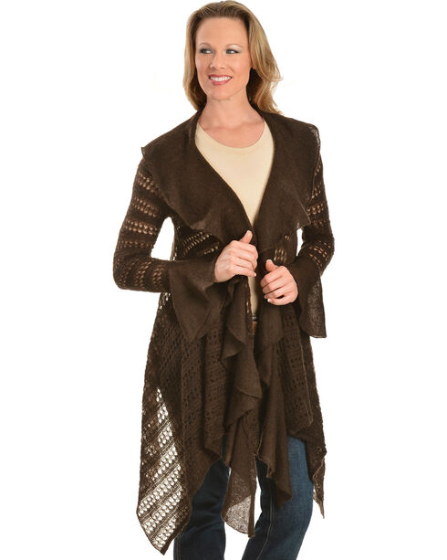 Ariat Hacienda Asymmetrical Brown Cardigan, Coffee, hi-res