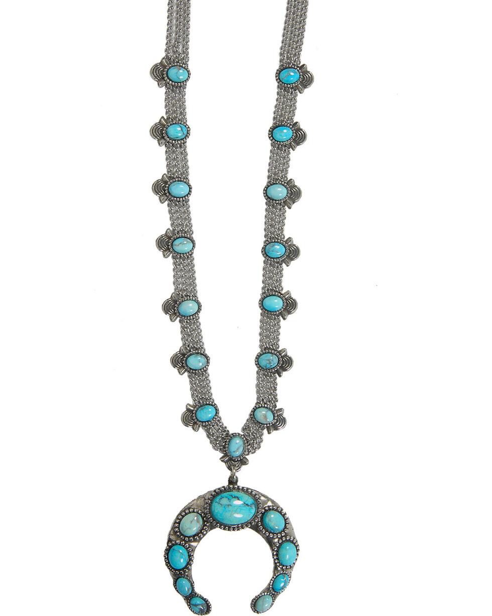 Cowgirl Confetti Women's Squash Blossom Necklace, Silver, hi-res